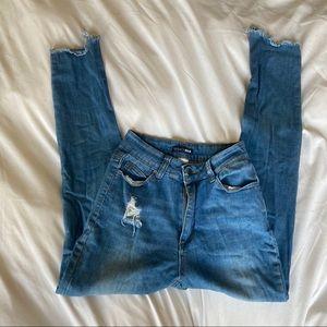 Fashion Nova ripped skinny jeans w/ frayed hem